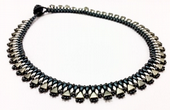 Egyptian Collar - Beadwork Necklace Kit with Kheops Par Puca and SuperDuo Beads (Dark Blue/Lt Cocoa)